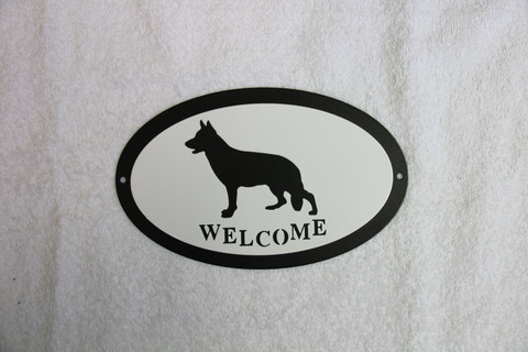 Welcome signboard  German shepherd