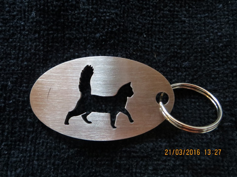 Keychain oval cat walks long-haired