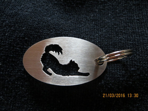 Keychain oval cat stretch long-haired
