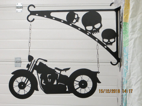 Gate sign and rack Motorbike old
