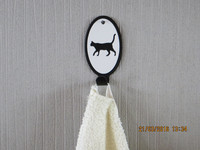 Towel rack cat walks short-haired