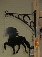 Gate sign and rack Icelandic horse