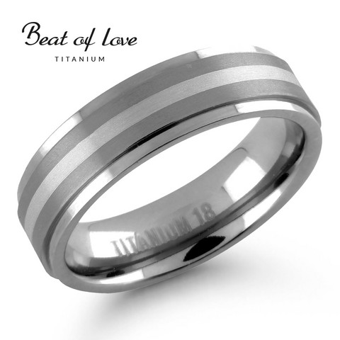 Beat of love titaani-hopeasormus 6mm harjattu TI-187