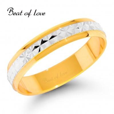 Beat of Love KV108-4 4mm kelta/valkokulta sormus