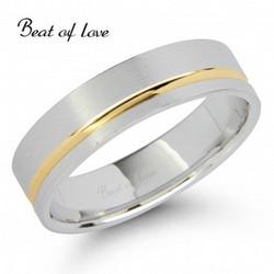 Beat of Love KV336-5 5mm kelta/valkokulta sormus