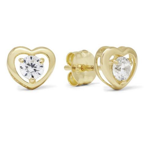 Kultakorvakorut sydän zirkonein K-E37975Z