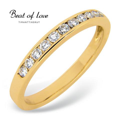 Beat of Love R-14041D keltakulta timanttisormus