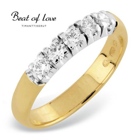 Beat of Love RO-5x0.07D keltakulta timanttisormus