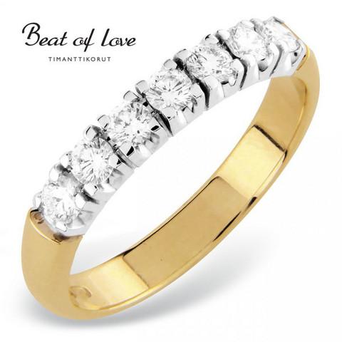 Beat of Love RO-7x0.08D keltakulta timanttisormus