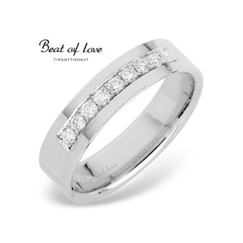 Beat of Love RO-012-VPF-5 valkokulta timanttisormus