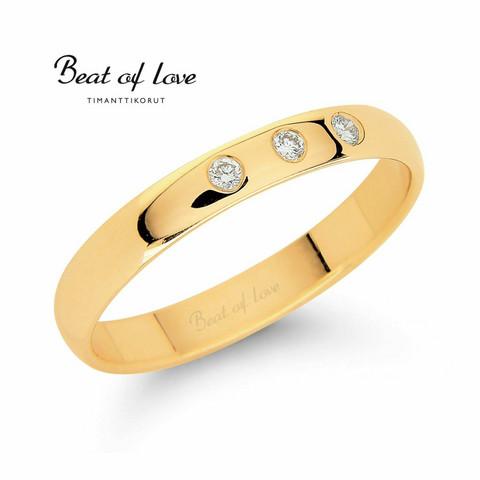 Beat of Love RO-011-KPP-3 keltakulta timanttisormus