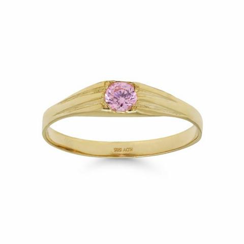 Kultakastesormus pinkillä kivellä 171272