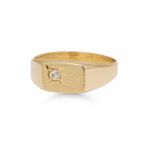 Kultakastesormus kantasormus timantilla 76D