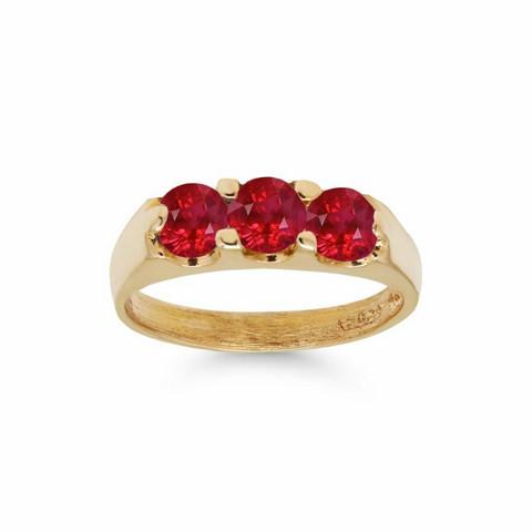 Kultakastesormus kolmella punaisella zirkonilla 6014