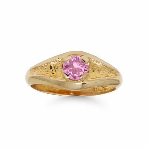 Kultakastesormus pinkillä zirkonilla 81