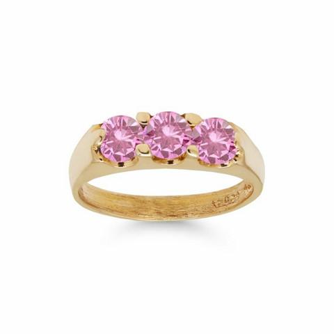 Kultakastesormus kolmella pinkillä zirkonilla 6014