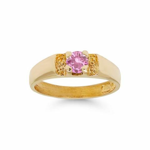 Kultakastesormus pinkillä zirkonilla 6003