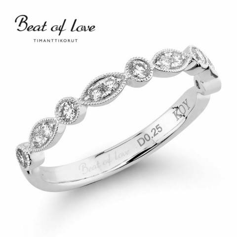 Beat of Love pitsi timanttisormus R-0902DW
