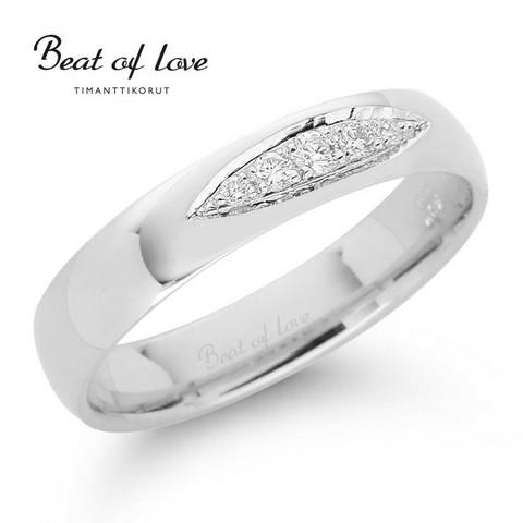 Beat of Love valkokulta timanttisormus RO-016-VKP-4