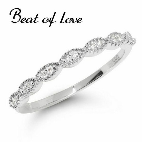 Beat of Love pitsi valkokulta timanttisormus R-9677DW