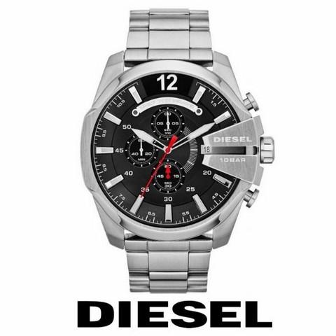 Diesel Mega Chief Silver Black DZ4308 rannekello