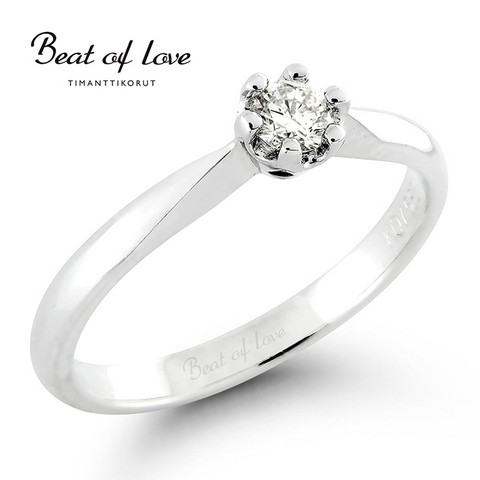 Beat of Love valkokulta timanttisormus R-10015DW