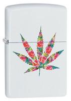 Zippo 29730 värikäs Marihuanan lehti valkoinen matta sytytin