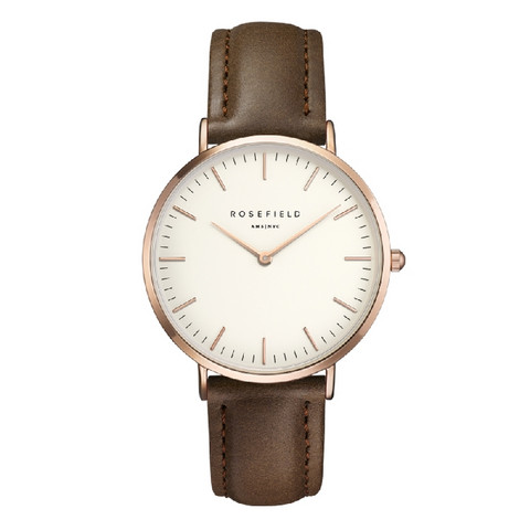Rosefield Bowery BWBRR-B3 White-Brown-Rosegold rannekello | toimituskulut 0€