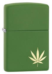 ZIPPO Z29588 MOSS GREEN MATTE CANNABIS | toimituskulut 0€