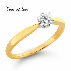 Beat of Love Solitaire keltakulta timanttisormus R-29990D