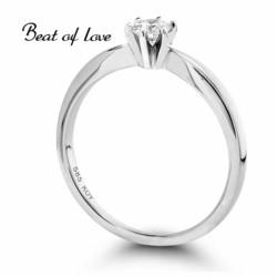 Beat of Love Solitaire valkokulta timanttisormus R-29990DW