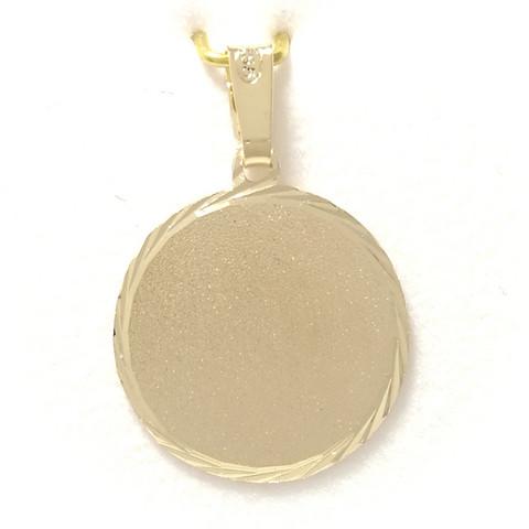 Pyöreä laatta-riipus 14mm kultaa 21080