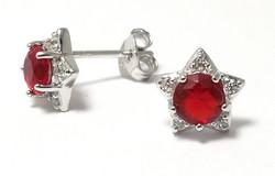 Tappikorvakorut punaisella kivellä, hopeaa 12050