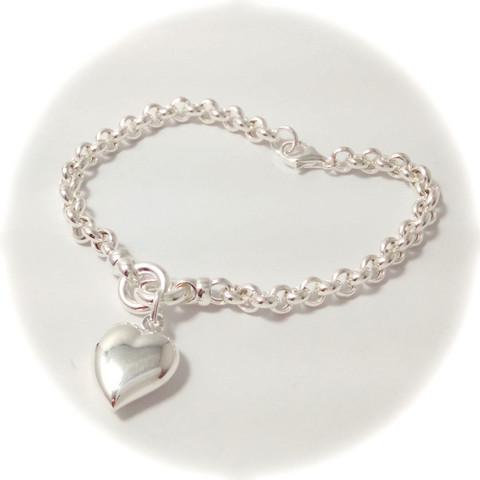 Papuketju sydämellä ranteeseen, hopeaa 14206