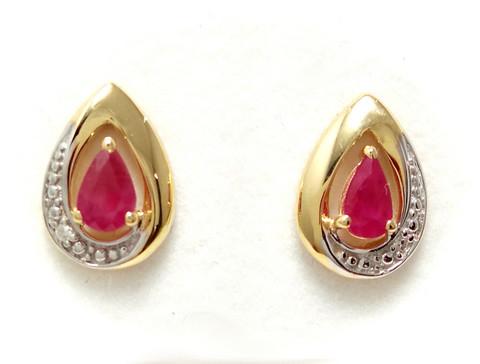 Rubiini-korvakorut timanteilla, 585-kultaa 22151