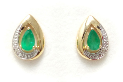 Smaragdi-korvakorut timanteilla, 585-kultaa 22152