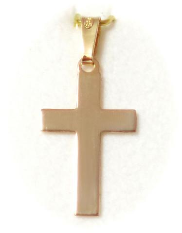 Sileä risti-riipus 19mm korkea, kultaa 21403