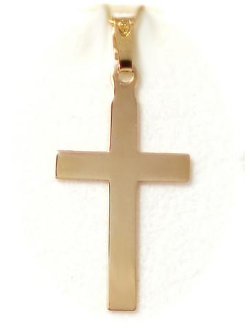 Sileä risti-riipus 26mm korkea, kultaa 21404