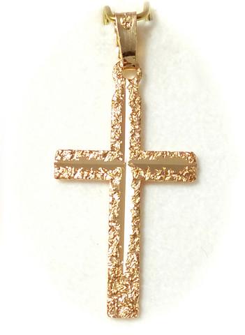 Tukeva timanttileikattu risti-riipus 26mm korkea, kultaa 21405