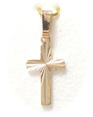 Tukeva timanttileikattu risti-riipus 14mm korkea, kultaa 21412