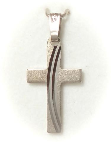 Risti-riipus kaari-leikkauksella 19mm korkea, valkokultaa 21415
