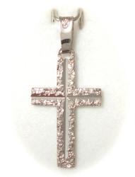 Risti-riipus timanttileikkauksella 19mm korkea, valkokultaa 21420