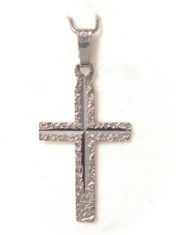 Risti-riipus timanttileikkauksella 26mm korkea, valkokultaa 21414