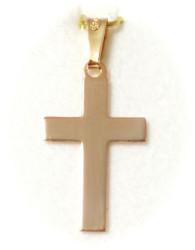 Tukeva sileä risti-riipus 19mm korkea, kultaa 21499