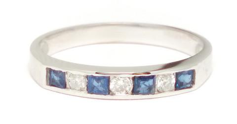 Sormus timanteilla ja sinisafiireilla, valkokultaa 0,09ct 23122