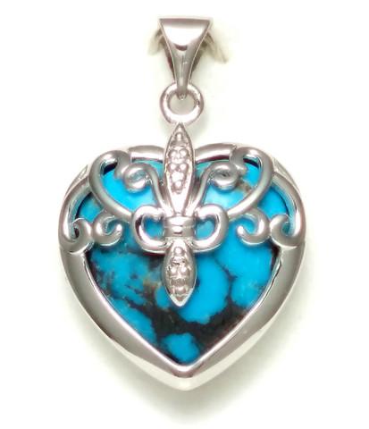 Sydän-riipus turkoosilla, hopeaa 11554