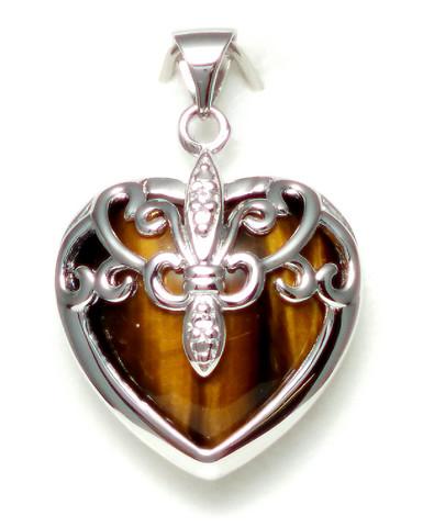 Sydän-riipus Tiikerinsilmällä, hopeaa 11555