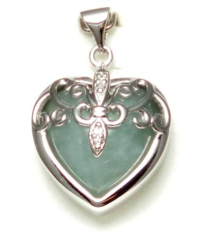 Sydän-riipus jadella, hopeaa 11558
