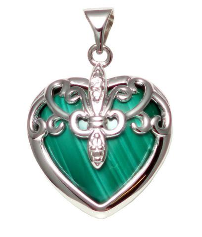 Sydän-riipus malakiitti, hopeaa 11556