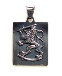 Suomileijona-laattariipus 27mm, oksidoitu hopeaa 11060